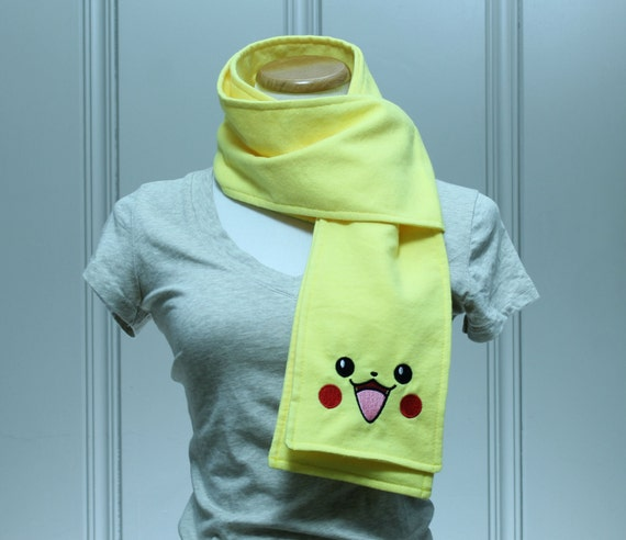 SALE Pika Face Yellow Flannel Scarf
