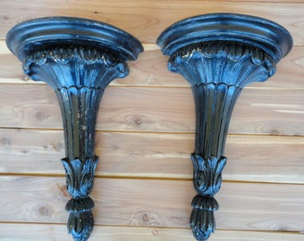 Pair of Large Carved Wall Sconces