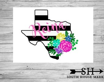 Texas Decal Floral Swag Yeti Decal