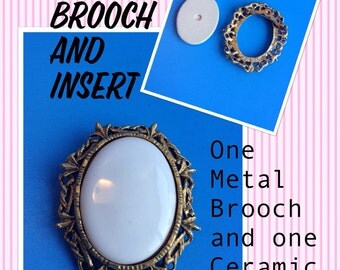 Two Gold Tone Oval Brooches and Inserts