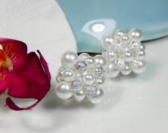 Bridal Pearl Cluster Earrings, bridal stud earrings, wedding, bride, elegant cluster earrings, KATERINA cluster earrings