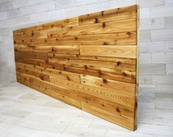 the Sylvan Queen Headboard Panel made from Reclaimed Cedar (aka recycled wood country home farmhouse bed wall headboard, hanging headboard)