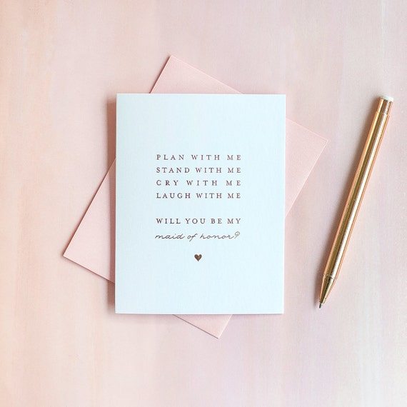 Rose Gold Foil Will You Be My Maid of Honor card maid of honor invitation maid of honor box gift bridal party card maid of honor proposal