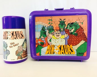 Dinosaurs TV Show, Lunchbox and Thermos, 1990s Dinosaurs Show, Not the Mamma, Aladdin Industries, Plastic Lunchbox and Thermos, Collectible