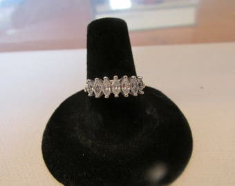 Vintage Ring, Marked 10K, Seven Raised Crystals, Marquise Shaped Cubic Zirconia. Collectible Jewelry