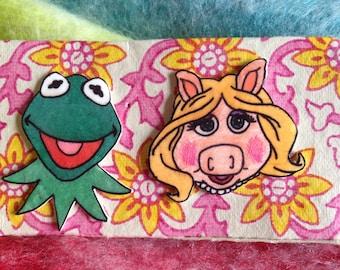 Kermit & Miss Piggy Earrings, The Muppets Earrings, Kermit the frog studs, Large