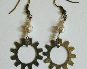 Steam punk Sun Gear Earrings