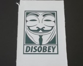 Disobey patch, Vendetta patch, apllique iron on
