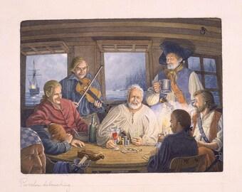 A social evening at anchor in Sam Bellamy's cabin.