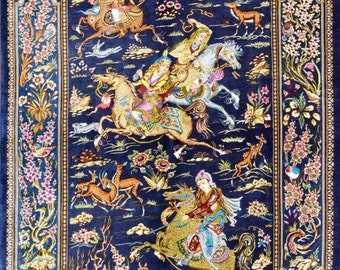 Super Fine Royal Navy Blue Qom Hunting Scene Pure Silk Extremely detailed masterpiece Persian Rug 3x5