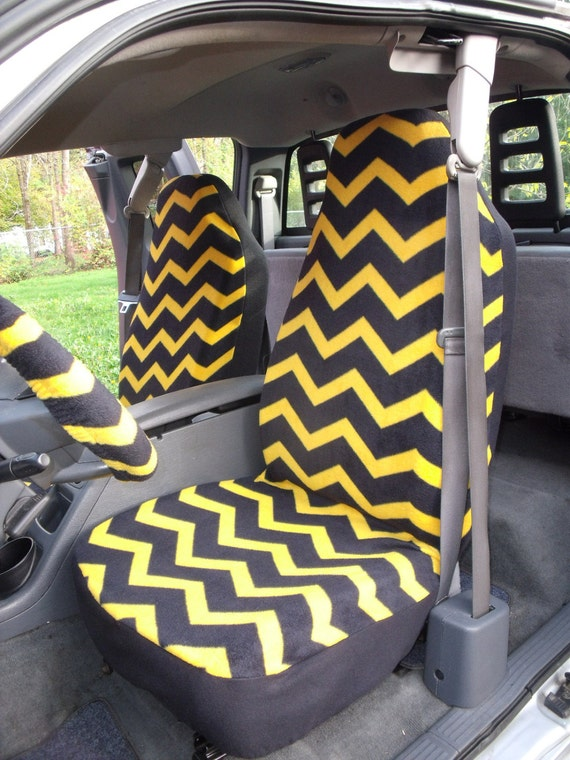 A Set of Navy/Gold Chevron Print. Seat Covers and Steering Wheel Cover Custom Made.