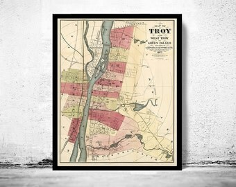 Old Map of Troy New York 1877