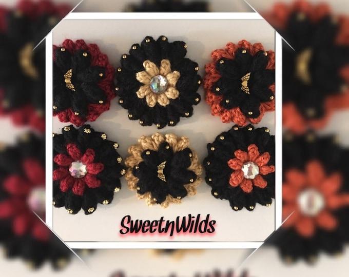 Puffy Flower Hair Clips-Girls Hair barrettes-Christmas pins-Fall hair accessories-Black Flower Clips