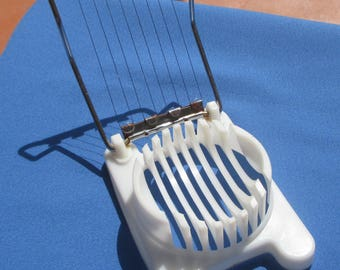 Vintage Egg Slicer White Plastic With Metal Wires