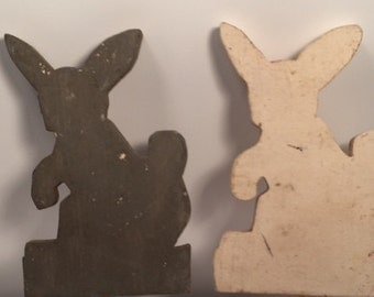 Pair of vintage wood painted garden ornament rabbits