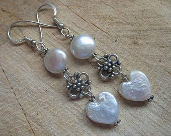 Fresh water pearl sterling silver dangle earrings, pearl earrings, pearl jewelry, June birthstone