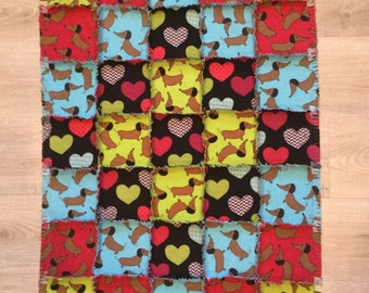 Flannel quilt, Dachshund flannel quilt, dachshund blanket, dog crate, doxie blanket, baby shower gift 10% of PP to charity to buyer's choice