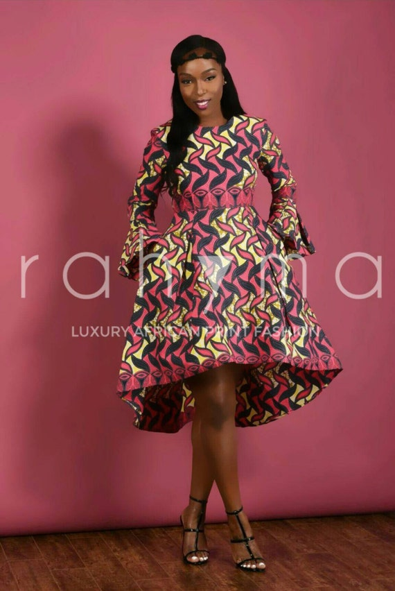 Posh African Print High- Low dress PINK
