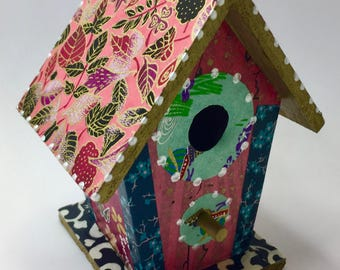Colorful Pink and Green  Flower Washi Wooden Birdhouse Ornament