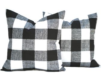 Two Black pillow covers, decorative throw pillow, decorative pillow, accent pillow, Black Throw Pillow, Plaid Pillow,