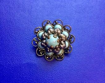 Larimar Turquoise Stone Silver Filigree Brooch