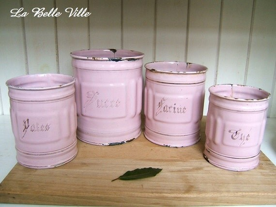 vintage french enamel canisters 1940s pink kitchen storage