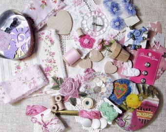 LOT Hand Frayed Ribbon Inspiration Kit - Pink - Glass Buckle Buttons Cottage Roses - Brighton Tin - Bobbins Hearts Paper Craft Quilt