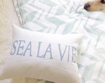 SEA LA VIE Pillow - beach pillow, beach cottage decor, beach decor, beach house pillow, beach house decor, beach gift