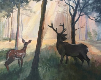 T. Morgan 1977 Deer Painting