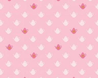 Wonderland 2 Tea Pot Pink # C5773R-PINK, Riley Blake, Dark Pink, Light Pink, Cream, Gold Sparkle