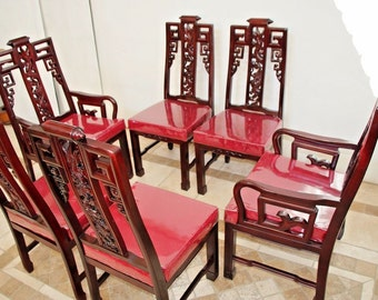 Vintage Matching Chinese Real Mahogany Dragon Carved Dining set of 6 Chairs Insured safe Nation Wide Shipping Available