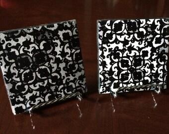 Cardstock Tile Coasters (set of 2 Black and White design)