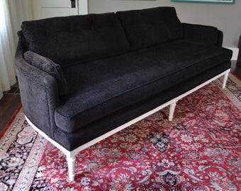 Henredon Vintage Hollywood Regency Sofa Black