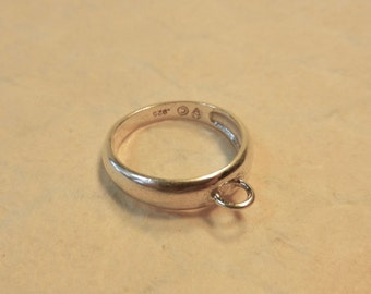 """SALE Solid Sterling Silver """"Dangle Ring"""" With Loop For Adding Charms OR Use As A Pendant To Add Charms For A Necklace Or Eyeglass Holder!"""