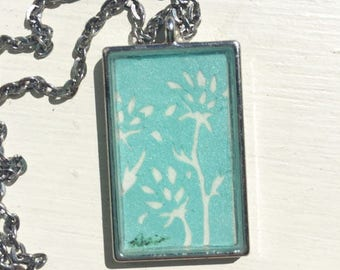 "Blue Floral Rectangular Necklace- Original cut paper art with 24"" chain"