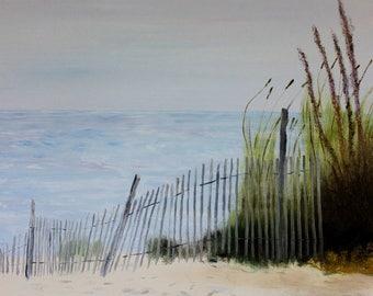 Beach Art, Beach Grass, Dune Grass, Beach, Seascape, Dune Fence, Snow Fence, Sand Dunes, George Vita - 8 x 10 Art Print