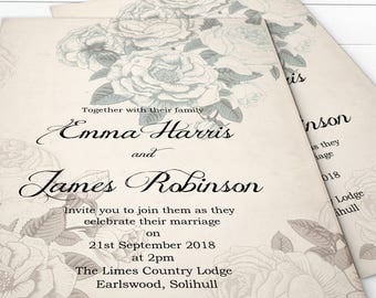 Country Cottage Wedding Invitation Printable,  Vintage Rose Wedding Invites, Rustic Floral Wedding Invites, Cottage Chic Wedding Invitation