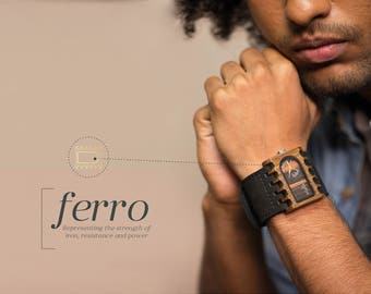 Wooden watch, Ferro, Wood Collection. Handmade wrist watch, Gift ideas, Fathers Day, Trendy, Unique, sustainable materials, Eco friendly