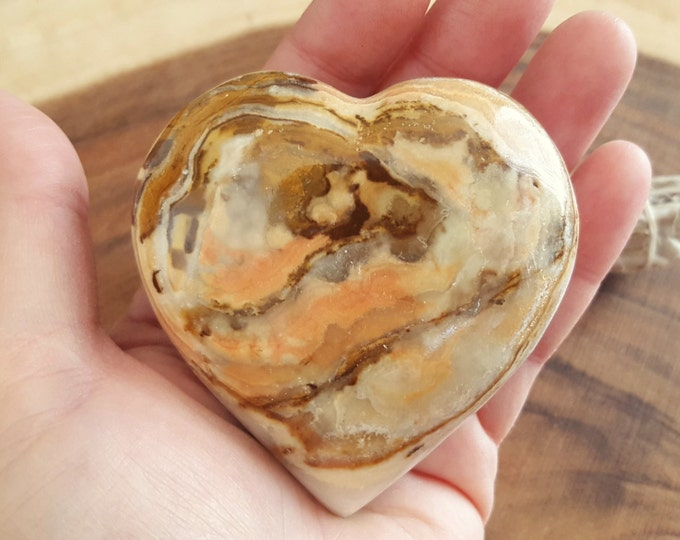 Pakistani Onyx Heart ~ One Reiki Infused gemstone heart approx 3 x 3 inches (PH12)