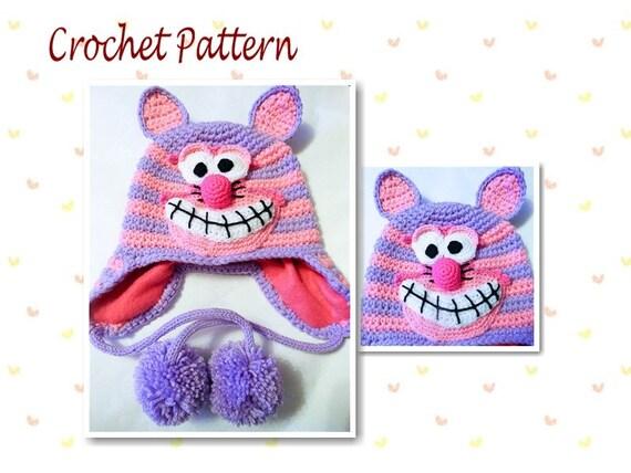 Crochet Pattern Cheshire Cat Hat Animal Hat Character Hat ...