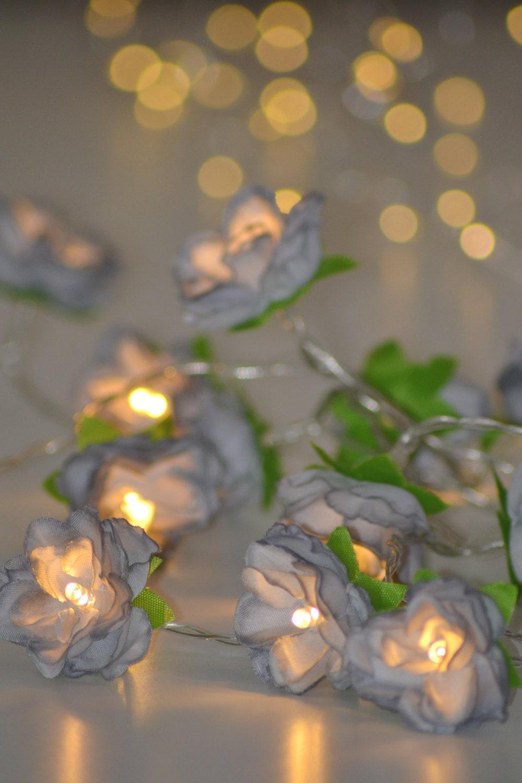 Grey Rose Flower Fairy String Warm White Led Lights Vintage