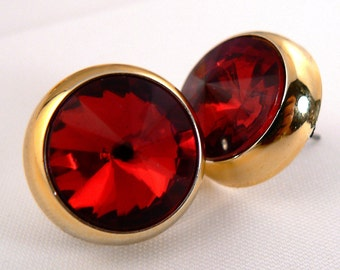 Red Rivoli Rhinestone Post Earrings, Bold Red Hollywood Sparkle Earrings, Gold Vintage Post Earrings, Party Red Earring Studs (E140)