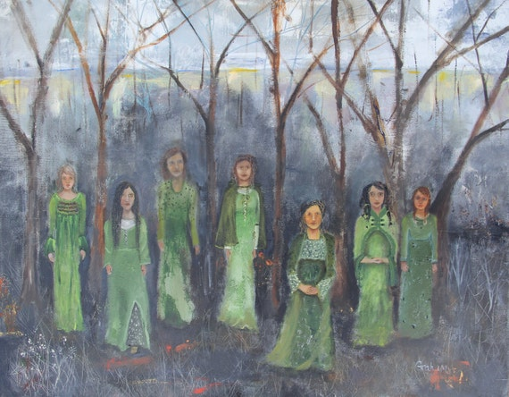 Original oil painting, They Have Come to Bring Us Spring, on stretched canvas, 30 x 24 inch, figurative art, folk art, large painting