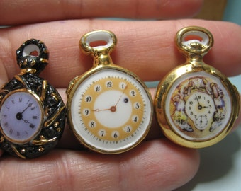 Fancy Vintage Gold POCKET WATCH Clock Timepiece Watches Wrist - French Feve Feves Porcelain Figurines Doll House Miniatures Figurine E14