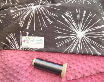 New!  Graphite sparkler dandelion Double Minky Baby Blanket, SALE!