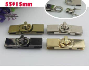 10-100 sets 55*15mm 4 color rectangle twist turn lock ,purse  handbag decorative  turn lock in  gold/gun-metal/brass/silver hardware ks-534