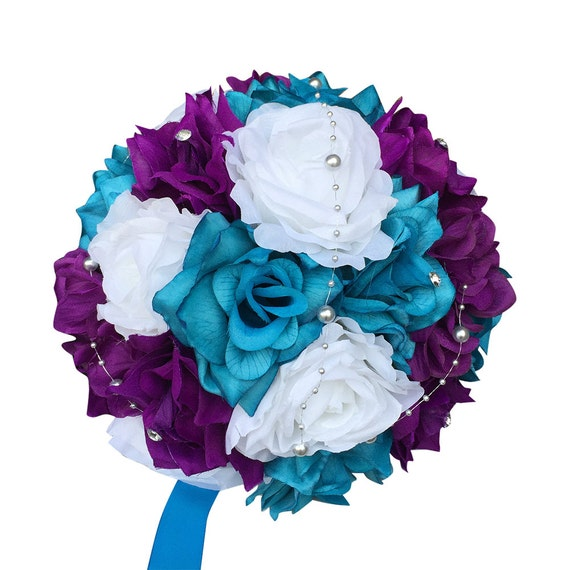Bridal Bouquet Purple Turquoise And White Artificial Roses