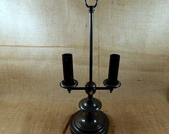 Vintage French Bouillotte Charcole Gray  Double French Horn Candlestick Lamp
