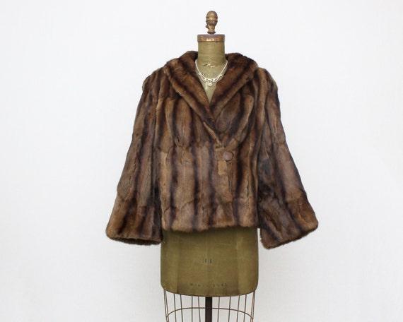 Short Brown Fur Coat - Vintage 1970s Muskrat Short Fur Jacket