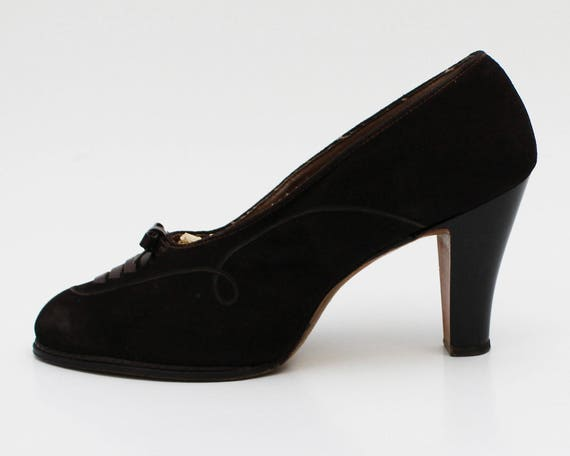 1940s Brown Suede High Heels - Size 7 - Vintage 40s Women's Shoes
